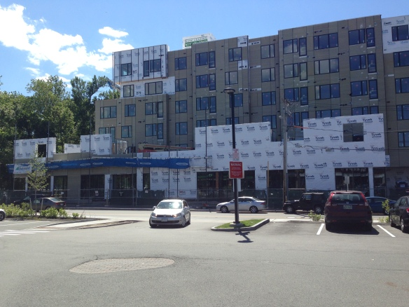 View of Wheeler St project from the Trader Joe's parking lot.