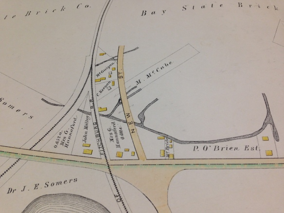 1886 map of New St and area. Fresh Pond is at the bottom.