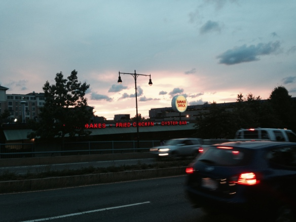 Late summer twilight (and lighter than usual traffic) on Alewife Brook Parkway