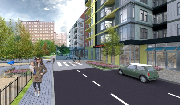 View of new street front looking east toward Rindge Ave towers (Arrowstreet rendering)