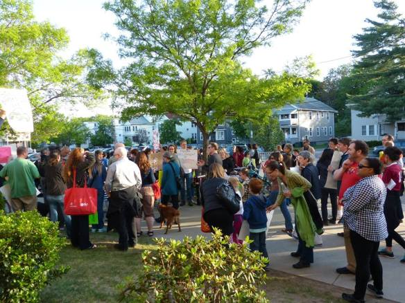 Neighbors rallied before the meeting (photo by Coalition to Save the Mugar Wetlands)